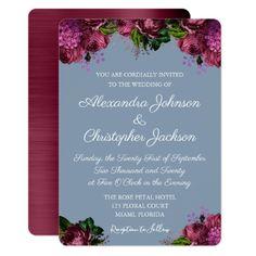Dusty Blue and Cranberry Burgundy Wedding Card