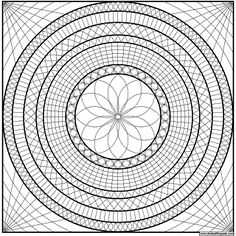 Geometric mandala to print and color- png