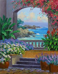 Intermediate painting idea, beautiful seaside terrace. Murmuring Surf by Mikki Senkarik - Sequin Gardens