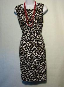 Sz-12-Talbots-Black-and-white-floral-print-pencil-sleeveless-dress