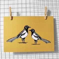 Mischievous Magpie Print available in A4 and A3 sizes from £14. #print #magpie #monochrome #mustard #homeware #illustration
