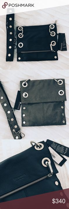 Hammit reversible crossbody bag. Reversible Hammit crossbody black leather & pueter suede bag. Brand new, never worn with tags. Very functional & trendy. hammit Bags Crossbody Bags