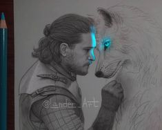 Jon Snow and his Wolf Ghost - Kit Harington - Game of Thrones. Game of Thrones Glowing Sketches. Click the image, for more art from Chertkova Lena. Dessin Game Of Thrones, Game Of Thrones Drawings, Arte Game Of Thrones, Pencil Art Drawings, Cool Art Drawings, Art Drawings Sketches, Amazing Drawings, Amazing Art, Snow Art