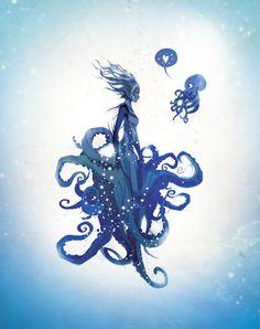Fantasy Art And Other Stuff Siren Mermaid, Mermaid Art, Octopus Mermaid, Mythical Creatures, Sea Creatures, Motifs Organiques, Squid Girl, Mermaid Drawings, Mermaids And Mermen