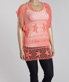 Loving this Coral Crochet Dolman Top - Plus on #zulily! #zulilyfinds