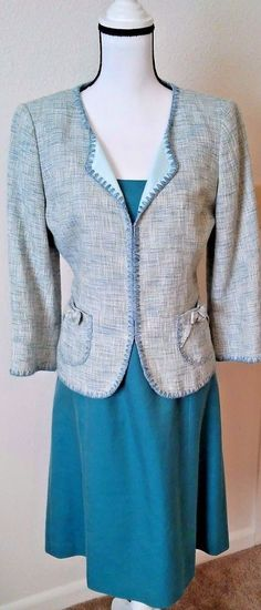 Dress silk cotton blend. Approximate measurements flat dress Should you need more room in bust on jacket simply leave un-clasped. Approximate measurements flat jacket No pulls, stains, holes, or othe signs of wear that I could find.