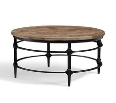 Parquet Round Coffee Table | Pottery Barn - I would use this in the center of the four club chairs in the formal living room (the texture on the surface would look great between the chairs and under the chandelier!)