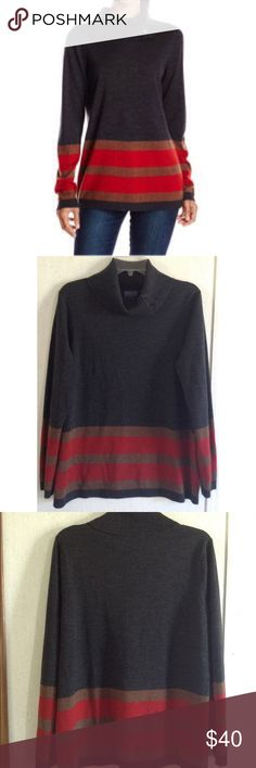 Pendleton Striped Cowl Neck Sweater Excellent condition! Really nice Pendleton merino wool sweater. Charcoal gray with orange and brown stripes at the bottom. Large cowl neck with functional buttons on one side. Very soft fabric, 97% merino wool 3% nylon. Ribbed collar, cuffs, and hem. Size petite XL. All offers welcome Pendleton Sweaters Cowl & Turtlenecks