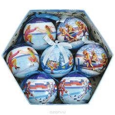 Набор новогодних подвесных украшений Спорт, диаметр 7,5 см, 7 шт. 20352