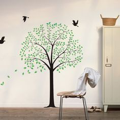 tree wall decals with birds wall decor wall sticker for bedroom children's room J526