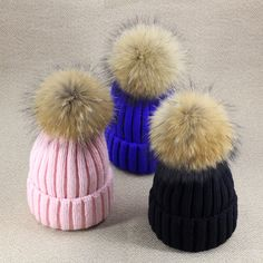 2017 winter solid color knitted big fur hats keep warm women fur cap korea designer N603