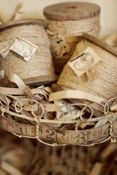 Wooden Spool  9 yards of jute ribbon by FleaMarketChick on Etsy, $16.50