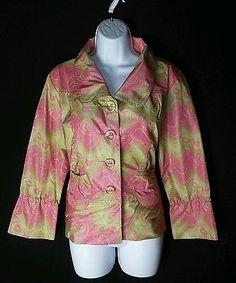 Cheryl Nash NEW Multi-Color Button Down Spring Jacket Ladies M