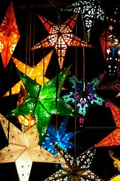 Handmade in the Philippines, special paper thin capis parols. uplighting, stars on ceiling, star lanterns during holidays, hanging over the buffet and/or dance floor. Star Lanterns, Paper Lanterns, Paper Stars, Pretty Lights, Beautiful Lights, Twinkle Twinkle Little Star, Stars And Moon, Decoration, Rainbow Colors