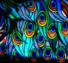 stained glass peacock feathers - consider color scheme, detail of larger work, artist unknown