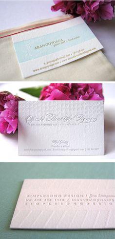 pretty letterpress business cards