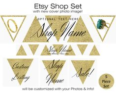 GOLD ETSY COVER Photo Premade Etsy Shop Set Banner Icon Gold Triangles Jewelry Accessories Shop Modern Branding Customized with Your Photos