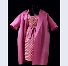 Hubert de Givenchy (designer) Cocktail ensemble of pink silk, consisting of a sleeveless dress with a wide belt and jacket Paris c.1960 Silk cotton metal