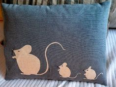 hand printed muted blue mouse family cushion by helkatdesign, $64.00