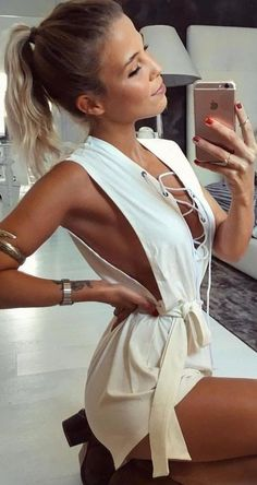 #summer #coolest #outfits | Ivory Tie Up Playsuit