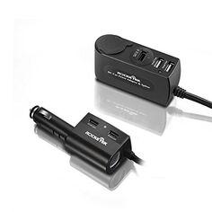 USB Car Charger Rocketek® 6.2A 4 USB Smart Charger sockets with a QC2.0 Car charger socket   2 Cigarette Lighter Adapter sockets   Build in Fuse   12v/24v DC outlet Car Splitter