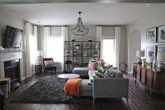 Perfect shade of light grey walls--image via Dayka Robinson Designs. Living Room Sets, Home Living Room, Living Spaces, Living Area, Family Room Decorating, Family Room Design, Decorating Ideas, Decor Ideas, Room Ideas