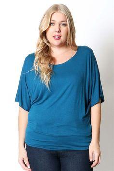 Kelly Brett Boutique - Dolman Sleeve Plus Size Top Luxe Jade, $18.00 (https://www.kellybrettboutique.com/dolman-sleeve-plus-size-top-luxe-jade/)