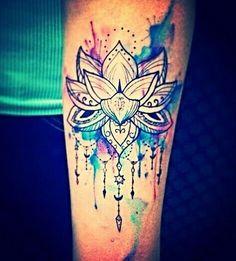 Watercolor Hippie Indie Lotus Tattoo.