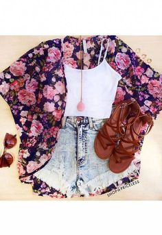 For some reason I'm intrigued by the kimono trend. I think it's the ease of it. Not totally in love with the print Teen Fashion Outfits, Cute Fashion, Urban Fashion, Outfits For Teens, Trendy Outfits, Cool Outfits, Girl Fashion, Tween Fashion, Trendy Fashion