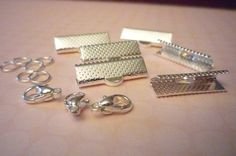 Large Silver Ribbon Crimps Clasps 3/4 inch or 20mm with Jump RIngs & Lobster Clasps - 3 Sets