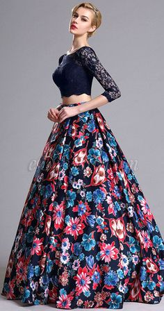 Two-piece Floral Prom Evening Dress