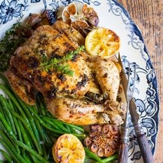 Roast chicken with garlic, lemon and thyme