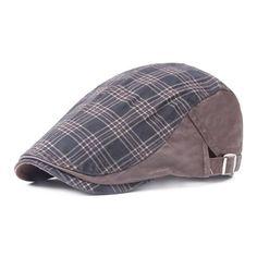 316b38d919d Spring Adult Casual Artist Painter Plaid Cotton Beret Flat Caps Hats Gorras  Planas Vintage Grid Women