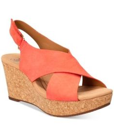 8acba63db Clarks Collections Women s Annadel Eirwyn Wedge Sandals - Orange 10M Black  Wedge Sandals