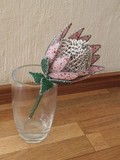 African Beaded Wire Flower  PROTEA  Pink and White by Hadeda, $39.00