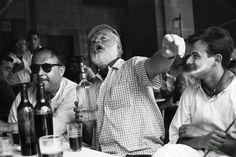 Ernest Hemingway at a bar in Havana