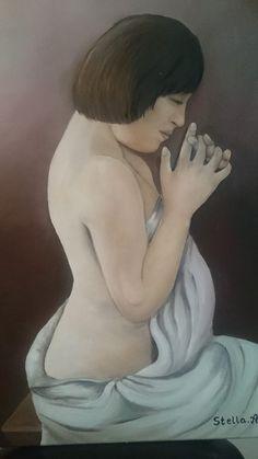 Oil Painting Prayer Stella Abek ציור שמן תפילה סטלה אבק