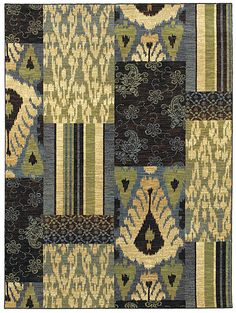 "Area Rug ""Phoenicia"" color Blue- Flooring by Shaw - Ikat block blend"