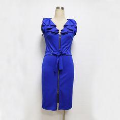 This item is HOT! Elegant Summer Pl... click 2 order  http://i-saledresses.myshopify.com/products/elegant-summer-plus-size-front-zipper-solid-women-work-dress-sleeveless-ruffled-v-collar-bodycon-office-pencil-dresse-with-belt?utm_campaign=social_autopilot&utm_source=pin&utm_medium=pin   We Ship Internationally!