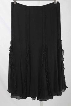 Lauren Ralph Lauren Size 4P Black Silk Pin Tuck & Ruffle A-Line Skirt 1148 L317    eBay