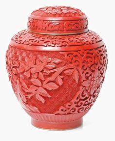 Antique Chinese Cinnabar Vase | Antique Chinese Carved Red Cinnabar Jar Vase with Blue Enamel Bronze ...