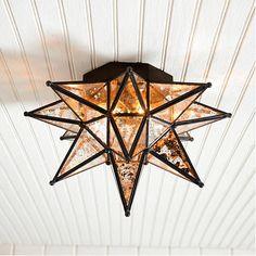 Moravian Star Ceiling Mount Mercury Glass