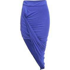 SheIn(sheinside) Royal Blue Slim Bodycon Asymmetrical Skirt ($9.99) ❤ liked on Polyvore featuring skirts, bottoms, blue, long skirts, bodycon skirt, blue bodycon skirt, body con skirt and cotton skirt