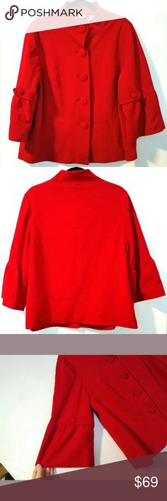 """Laura Ashley Woman 1X Red Jacket / Blazer This Laura Ashley Woman 1X Red Jacket / Blazer is in great used condition. Such a beautiful classic! Like new! Bust measures 23"""" across laying flat, measured from pit to pit, so 46"""" around. 25.5"""" long. No pilling, fading, or stains--like new. Covered buttons. Fully lined. ::: Bundle and save! ::: No trades. Laura Ashley Jackets & Coats Blazers"""