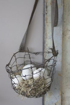 vintage wire basket with leather strap. or, sew on fabric handles to a mesh wire basket for hanging plants and storage Country Life, Country Living, Country Charm, Vintage Wire Baskets, Pot Pourri, Egg Basket, Down On The Farm, Chicken Wire, Wire Art