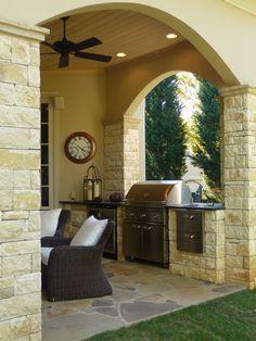 Outdoor kitchen, covered patio. Architect Cynthia Karegeannes, Norcross, GA.