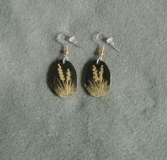 Antler Earrings Gold Yucca-Hand Painted by TandPCrafts on Etsy
