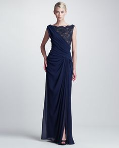 Another winner (in a brighter colour)  Draped Lace-Bust Gown by Tadashi Shoji at Neiman Marcus.