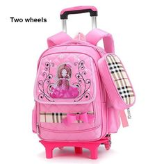 5ca4eacf80 Girls Trolley School Bag Cartoon Backpack Wheels School Bag with Detachable  Children Rolling Backpack Books Bag for Girls Bolsas