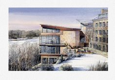 Architectural rendering - Eye level, aerial and interior watercolor renderings. Vladislav Yeliseyev specializes in high quality watercolor illustrations. Interior Architecture Drawing, Colour Architecture, Watercolor Architecture, Interior Rendering, Watercolor Landscape, Art And Architecture, Landscape Paintings, Easy Watercolor, Watercolor Sketch